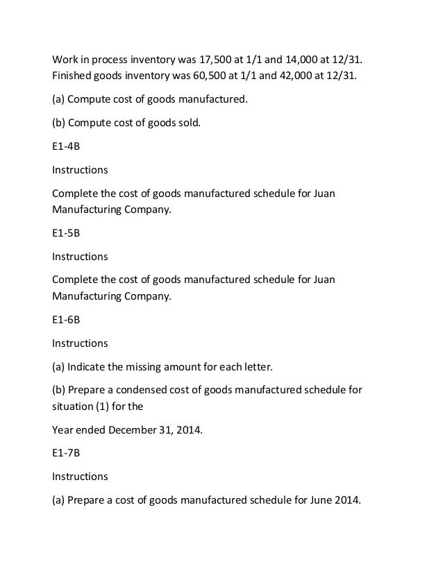 prepare a cost of goods manufactured schedule