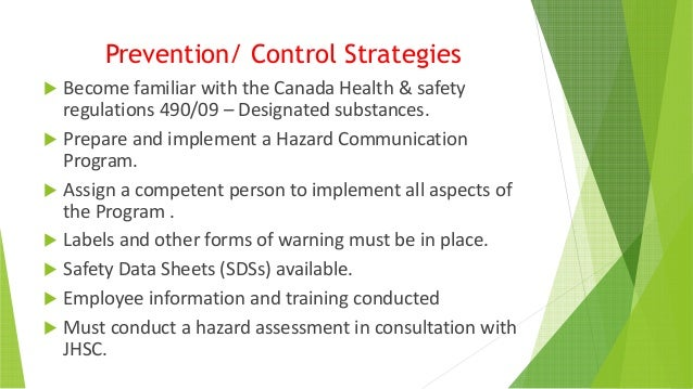 A Guide to the control of substances hazardous to health in design and construction