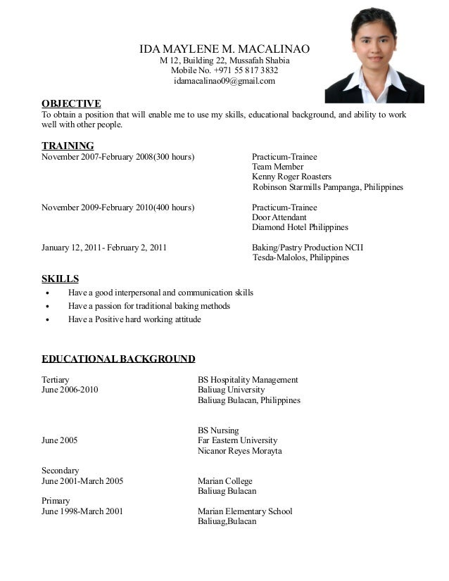 ida-resume-1-638 Sample Curriculum Vitae Objective on latest format, medical student, for accountant partner, for chiropractors, academic cv templates, fresh graduate, offer letter, cover letter, for administrative assistant,