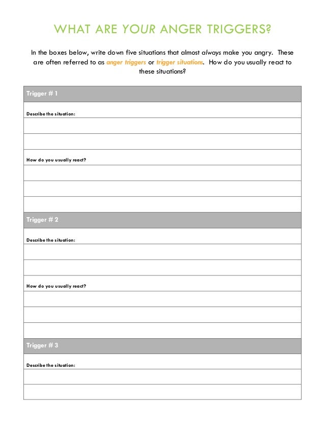 image about Anger Management Printable Worksheets named Anger Handle Neighborhood Treatment method: Handouts and Worksheets