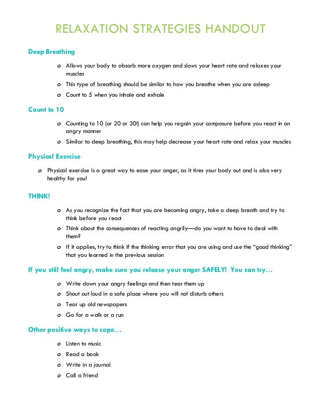 Anger Management Group Therapy Handouts and Worksheets – Anger Management Skills Worksheets