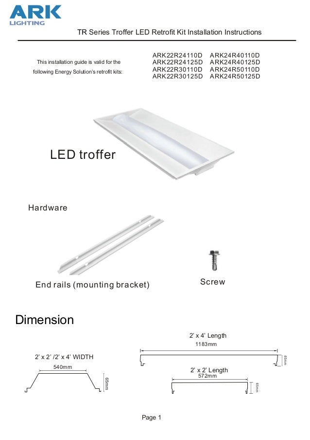 led troffer retrofit kit install instructions ark lighting Wiring Diagram Dimmable LED Troffer