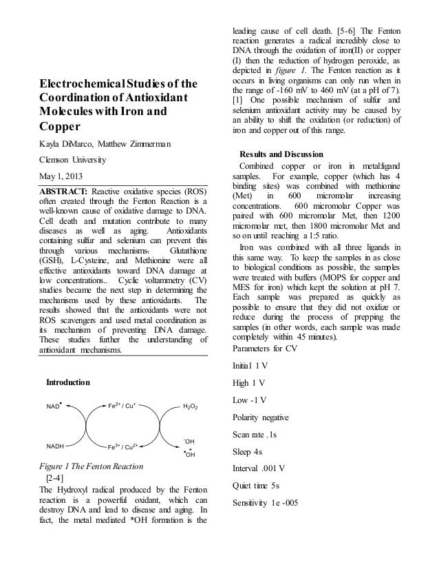 ElectrochemicalStudies of the Coordination of Antioxidant Molecules with Iron and Copper Kayla DiMarco, Matthew Zimmerman ...