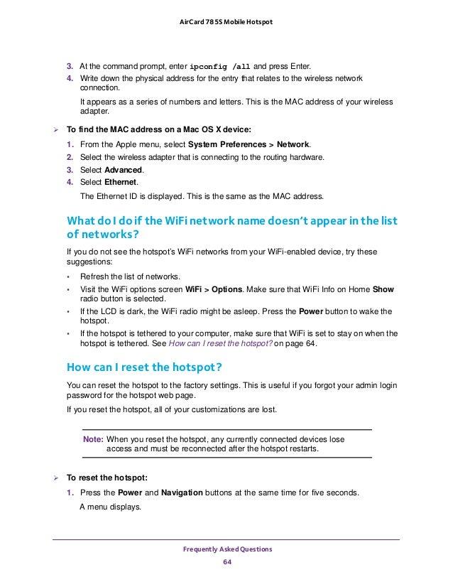 Netgear Aircard 785S Mobile Broadband Hotspot User Guide