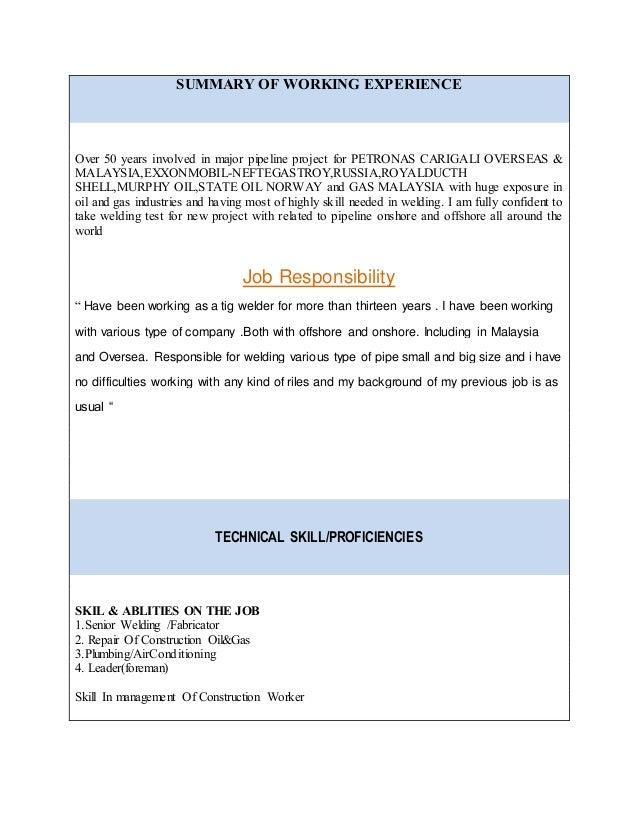 Contract welder resume