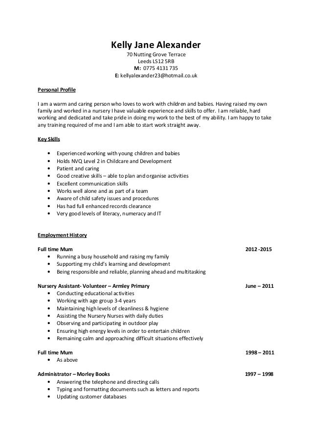 kelly alexander cv 2016 childcare