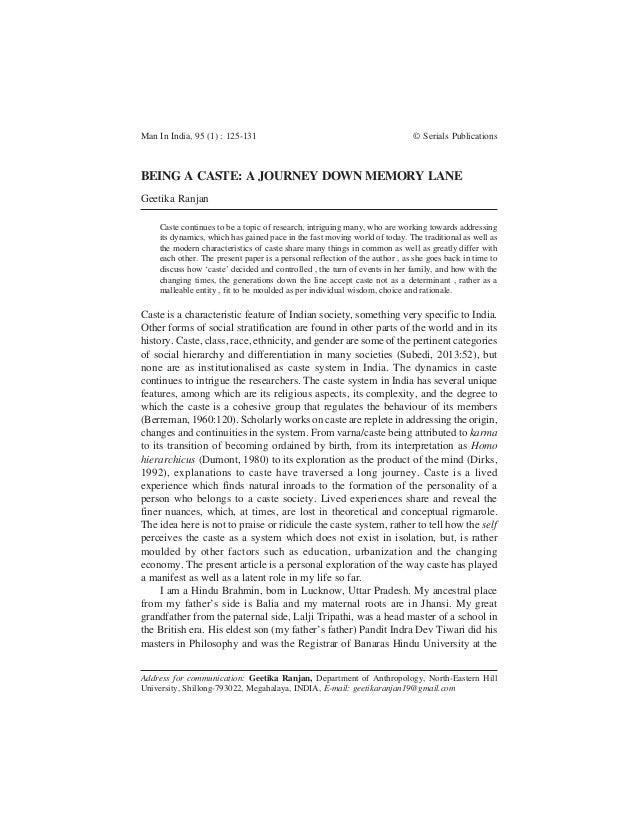 Man In India, 95 (1) : 125-131 © Serials Publications Address for communication: Geetika Ranjan, Department of Anthropolog...