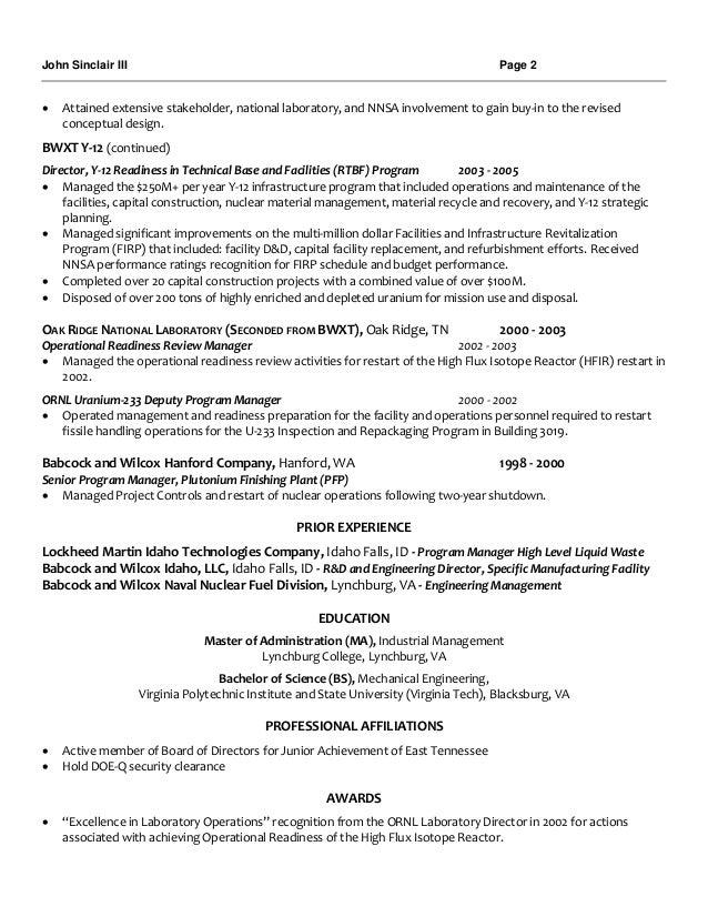 john sinclair iii resume 2