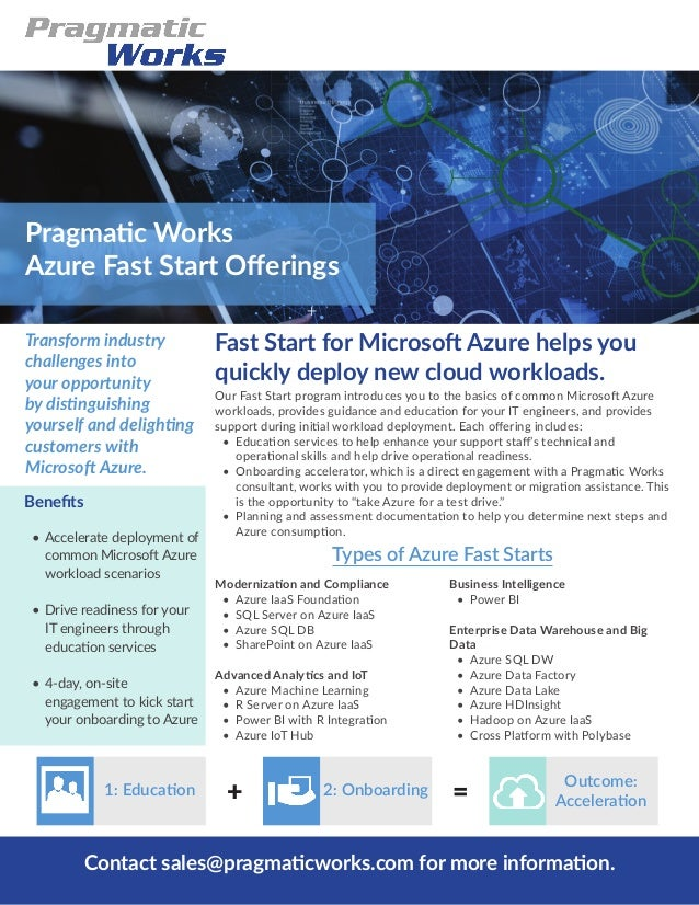 Fast Start for Microsoft Azure helps you quickly deploy new cloud workloads. Transform industry challenges into your oppor...