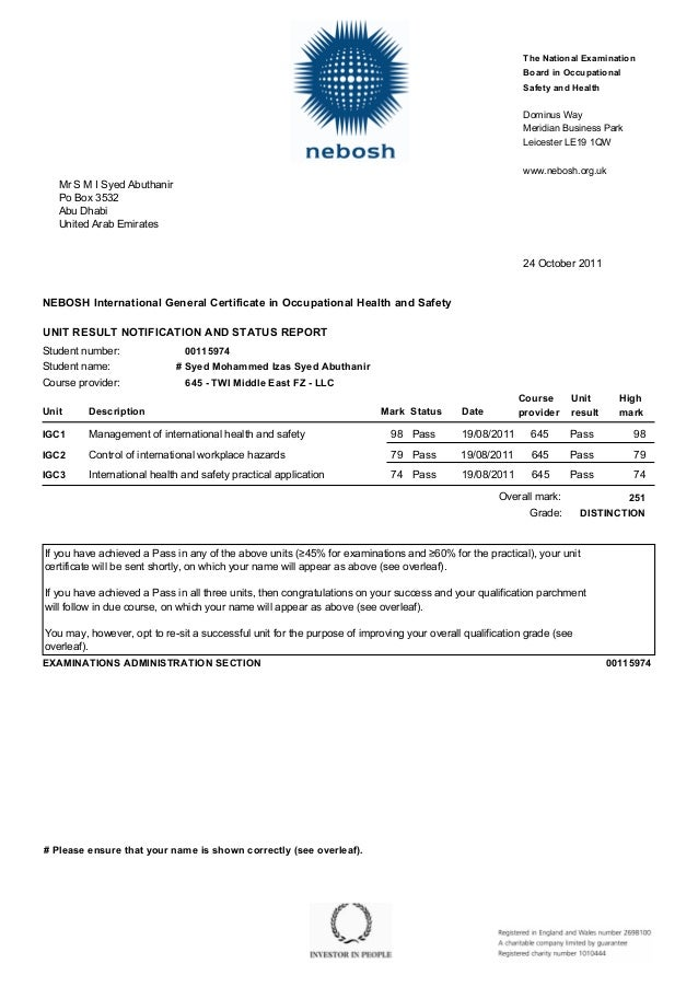 nebosh mark sheet  1