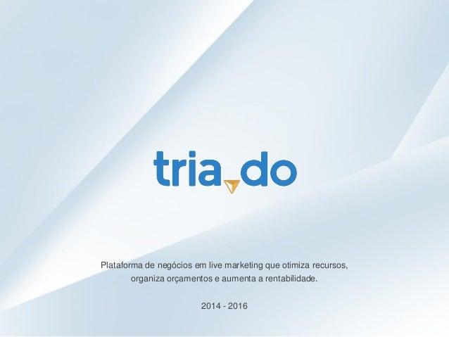 Plataforma de negócios em live marketing que otimiza recursos, organiza orçamentos e aumenta a rentabilidade. 2014 - 2016
