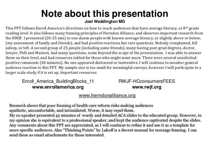 Note about this presentation                                             Joel Weddington MDThis PPT follows Enroll America...
