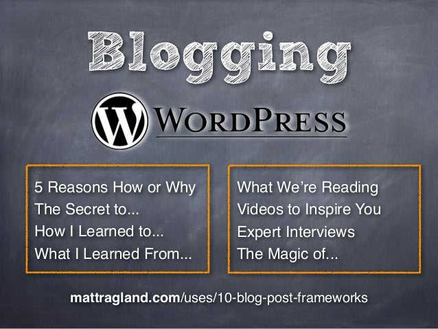 Blogging5 Reasons How or Why        What We're ReadingThe Secret to...            Videos to Inspire YouHow I Learned to......