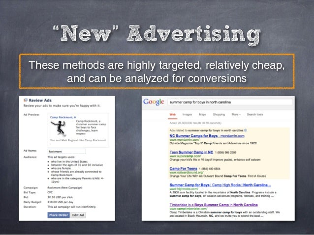 """""""New"""" AdvertisingThese methods are highly targeted, relatively cheap,      and can be analyzed for conversions"""