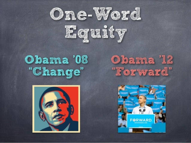 "One-Word    EquityObama '08   Obama '12""Change""    ""Forward"""