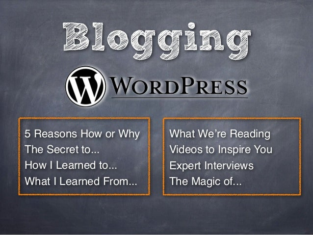 Blogging 5 Reasons How or Why The Secret to... How I Learned to... What I Learned From... What We're Reading Videos to Ins...