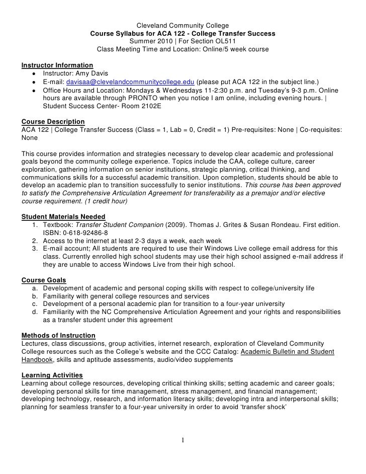 Cleveland Community College                        Course Syllabus for ACA 122 - College Transfer Success                 ...