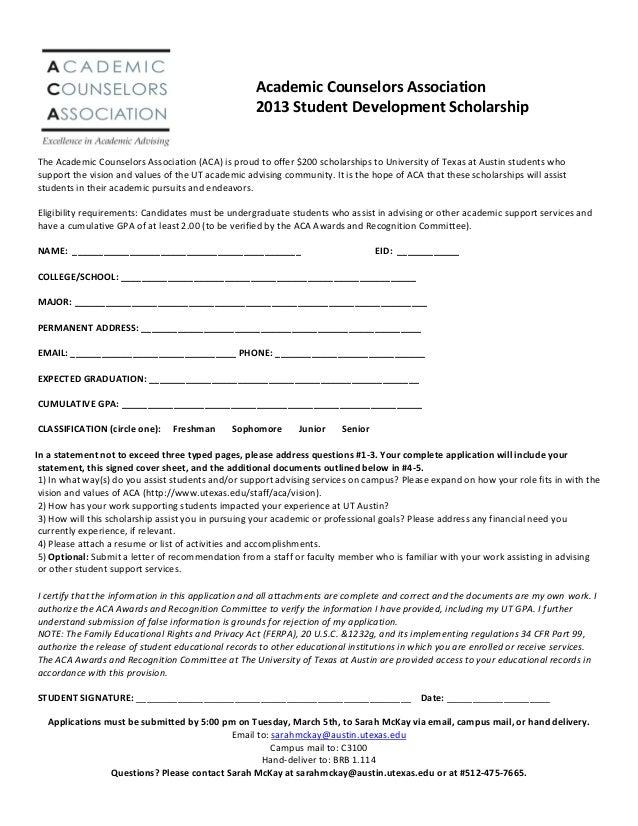 ferpa form ut austin  ACA 11 Student Development Scholarship Application