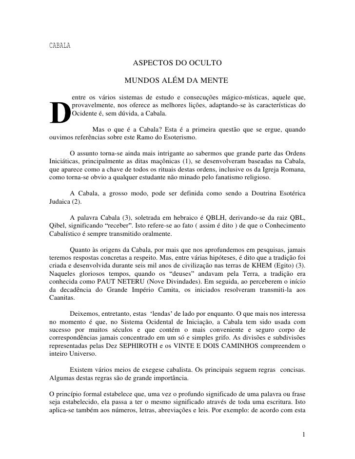 CABALA                               ASPECTOS DO OCULTO                             MUNDOS ALÉM DA MENTE           entre o...
