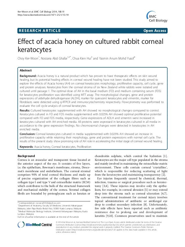 RESEARCH ARTICLE Open Access Effect of acacia honey on cultured rabbit corneal keratocytes Choy Ker-Woon1 , Norzana Abd Gh...