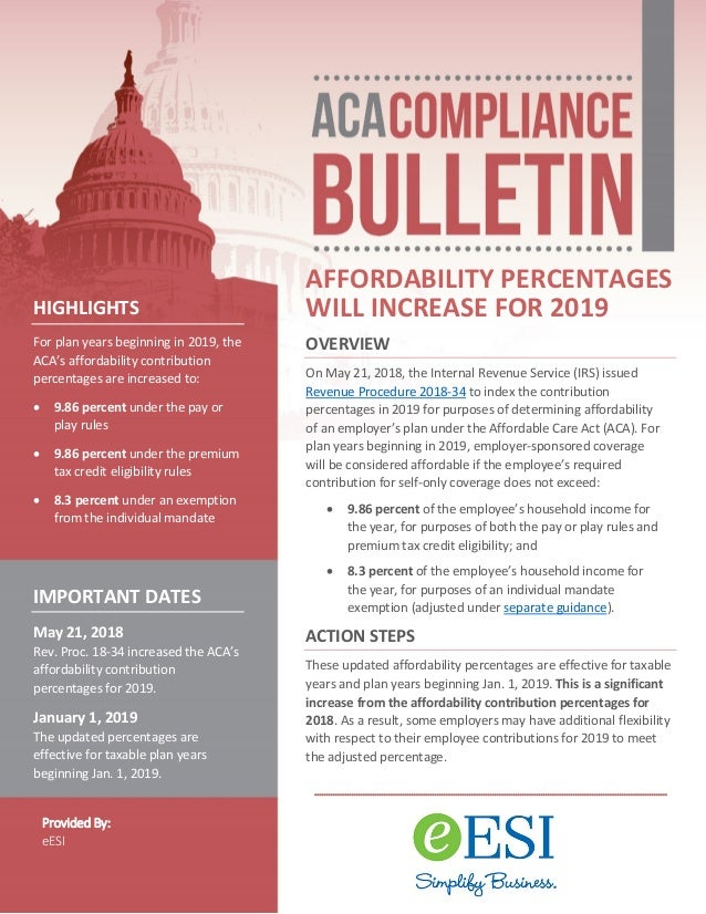 ACA Compliance Bulletin - Affordability Percentages Will