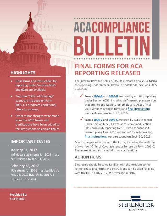 Aca Compliance Bulletin Final Form For Aca Reporting