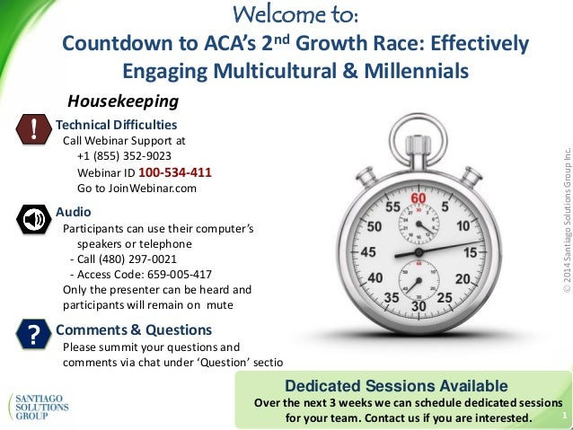 2014SantiagoSolutionsGroupInc. Dedicated Sessions Available Over the next 3 weeks we can schedule dedicated sessions for ...