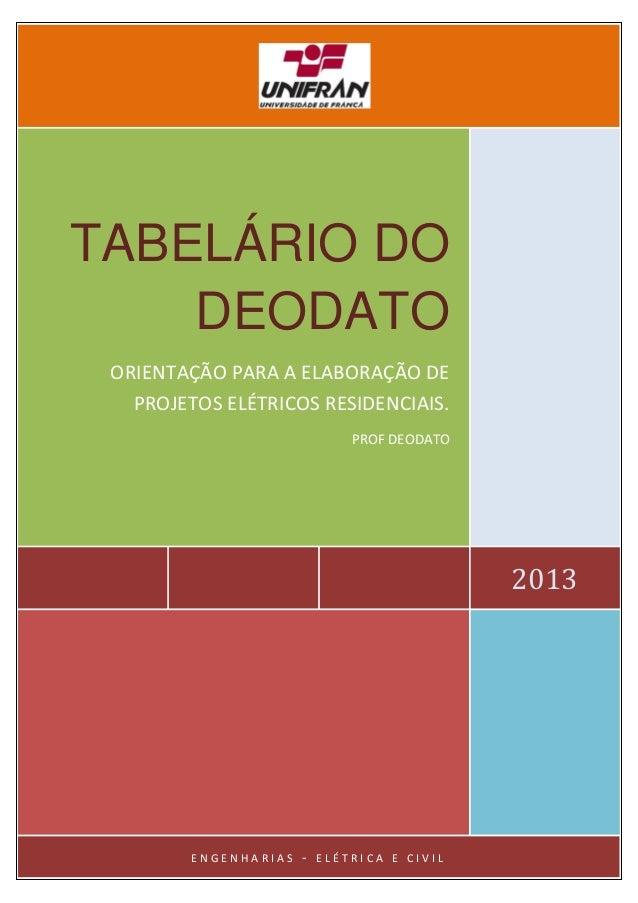 2013 TABELÁRIO DO DEODATO ORIENTAÇÃO PARA A ELABORAÇÃO DE PROJETOS ELÉTRICOS RESIDENCIAIS. PROF DEODATO E N G E N H A R I ...