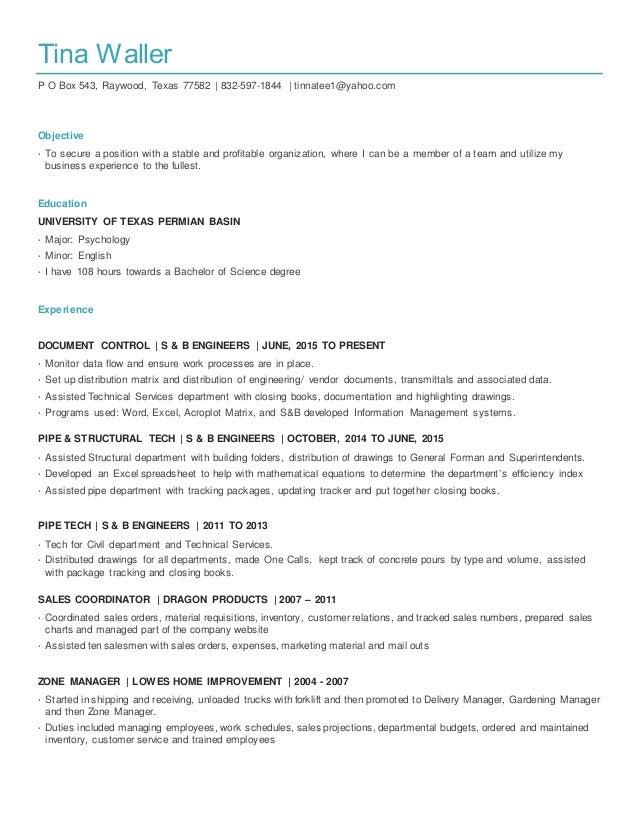 tina waller resume 2016