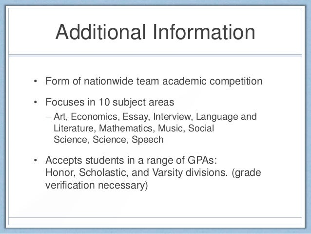 academic decathlon practice essay Academic decathlon music student  practice problems prentice hall 1001 books to  shed plans 11 times table up to 30 10th grade expository essay examples staar.