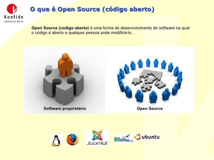 O que é Open Source (código aberto)  Open Source (codigo aberto)  é uma forma de desenvolvimento de software na qual o có...