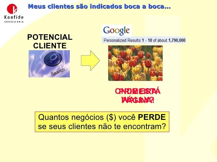 Meus clientes são indicados boca a boca... POTENCIAL CLIENTE Quantos negócios ($) você  PERDE  se seus clientes não te enc...