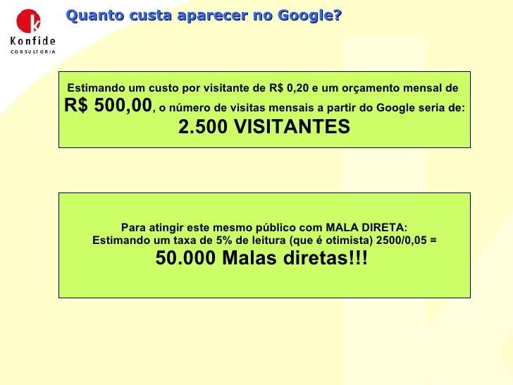Quanto custa aparecer no Google? Estimando um custo por visitante de R$ 0,20 e um orçamento mensal de  R$ 500,00 , o númer...