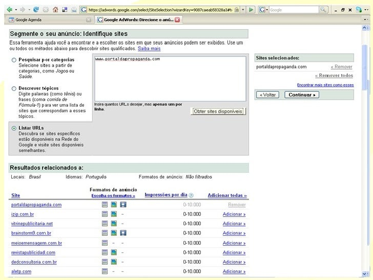 Campanha segmentada por sites Categorias Tópicos URL