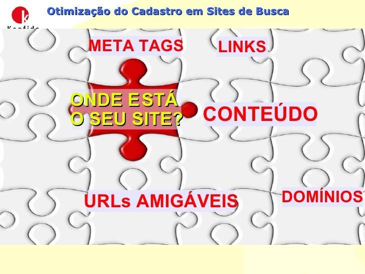 Otimização do Cadastro em Sites de Busca CONTEÚDO META TAGS DOMÍNIOS URLs AMIGÁVEIS LINKS ONDE E STÁ  O SEU SITE?
