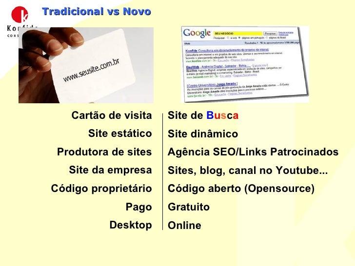Tradicional vs Novo <ul><li>Cartão de visita </li></ul><ul><li>Site estático </li></ul><ul><li>Produtora de sites </li></u...