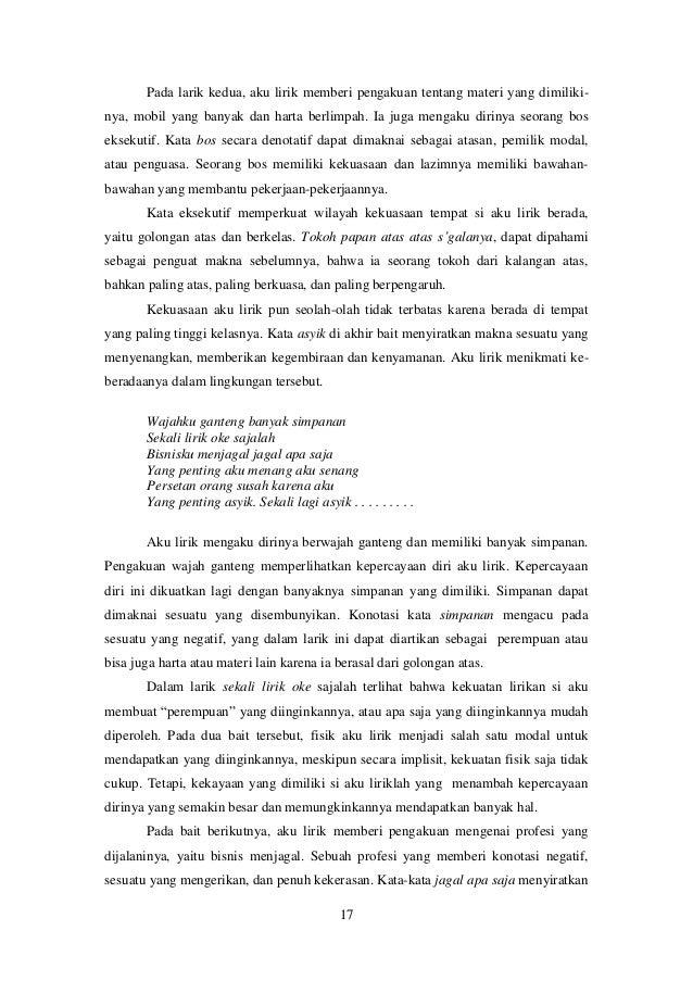 Pertentangan Kelas Dalam Lirik Lagu Di Album Kelompok Musik Swami I