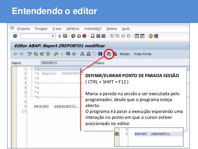 ABAP - Advanced Business Application Programming Entendendo o editor DEFINIR/ELIMIAR PONTO DE PARADA SESSÃO ( CTRL + SHIFT...