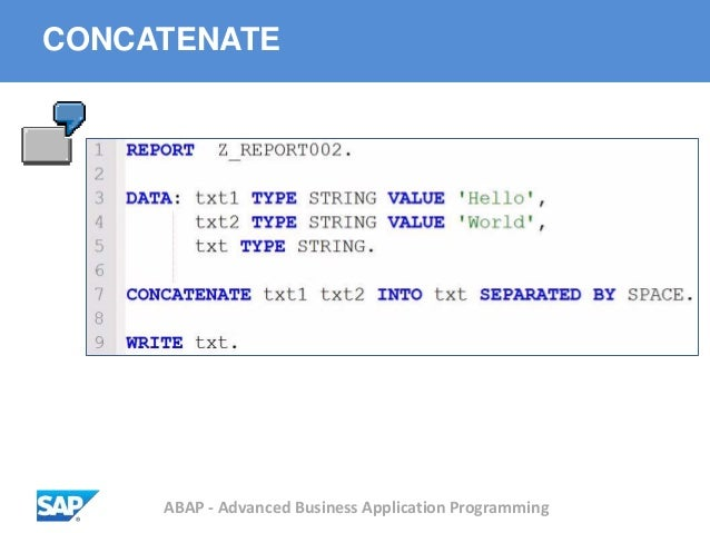 ABAP - Advanced Business Application Programming CONCATENATE