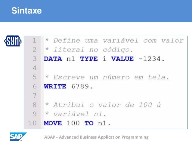 ABAP - Advanced Business Application Programming Sintaxe