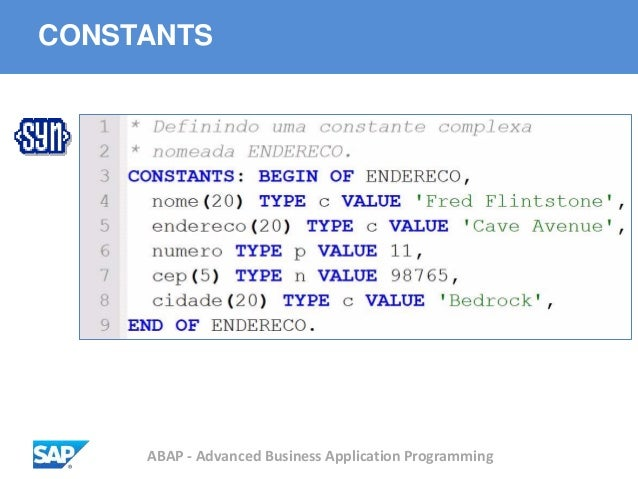 ABAP - Advanced Business Application Programming CONSTANTS