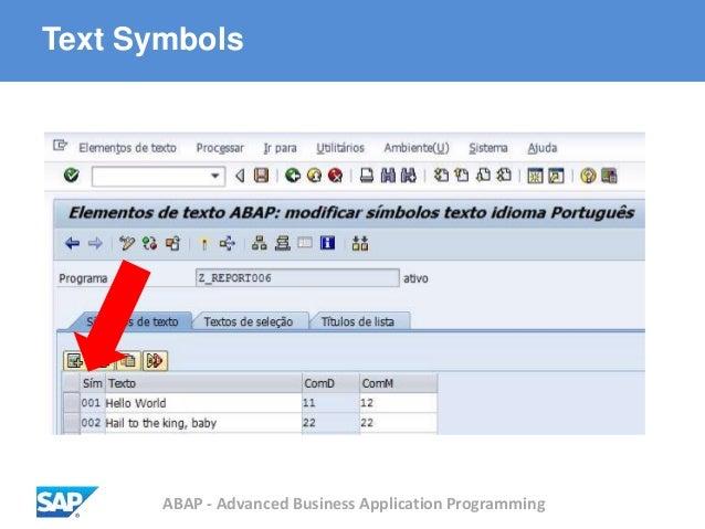 ABAP - Advanced Business Application Programming Text Symbols