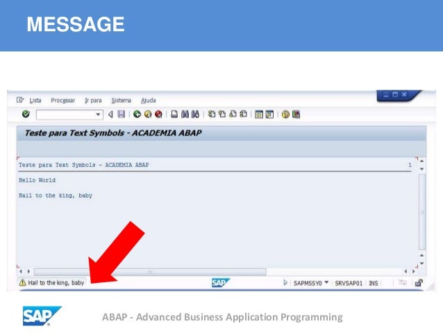 ABAP - Advanced Business Application Programming MESSAGE