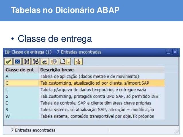 ABAP - Advanced Business Application Programming Tabelas no Dicionário ABAP • Classe de entrega