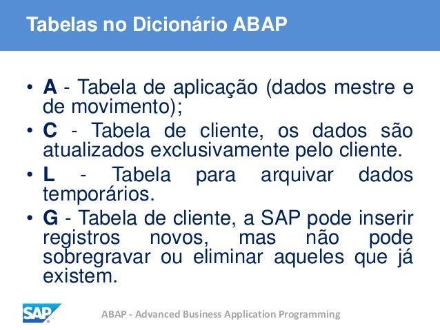ABAP - Advanced Business Application Programming Tabelas no Dicionário ABAP • A - Tabela de aplicação (dados mestre e de m...