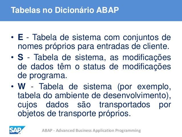 ABAP - Advanced Business Application Programming Tabelas no Dicionário ABAP • E - Tabela de sistema com conjuntos de nomes...