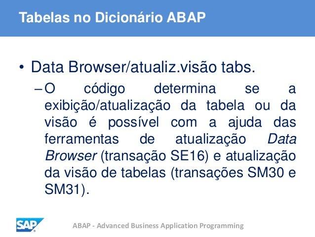ABAP - Advanced Business Application Programming Tabelas no Dicionário ABAP • Data Browser/atualiz.visão tabs. –O código d...