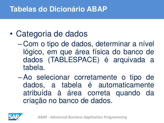 ABAP - Advanced Business Application Programming Tabelas do Dicionário ABAP • Categoria de dados –Com o tipo de dados, det...