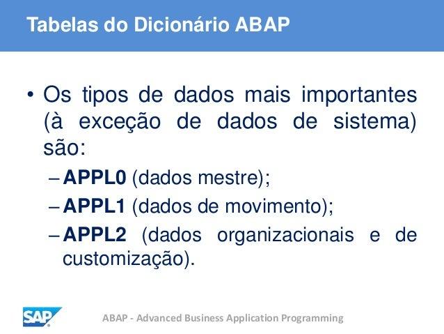 ABAP - Advanced Business Application Programming Tabelas do Dicionário ABAP • Os tipos de dados mais importantes (à exceçã...