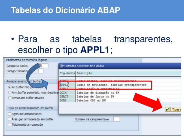 ABAP - Advanced Business Application Programming Tabelas do Dicionário ABAP • Para as tabelas transparentes, escolher o ti...